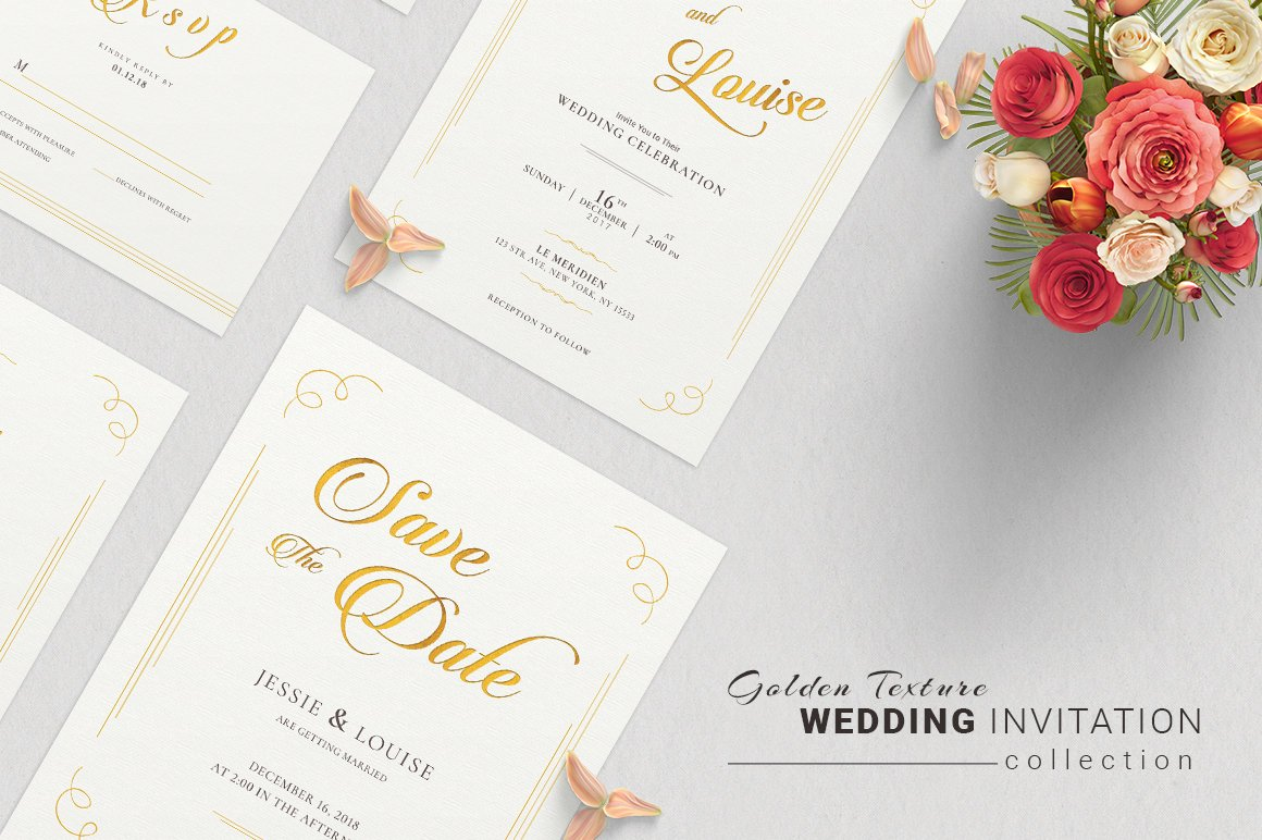 Golden Wedding Invitation Suite ~ Invitation Templates ~ Creative Market