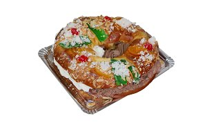 Roscon de reyes on a tray isolated