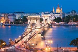 Szechenyi Chain Bridge in Budapest Hungary