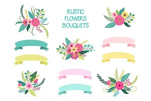 Cute vintage elements as rustic hand drawn first spring flowers bouquets