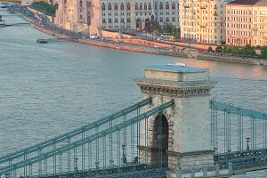 Beautiful Szechenyi Chain Bridge in Budapest Hungary and the Parliament