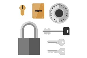 Locks and keys flat icon.