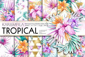 Tropical Flowers Digital Paper Pack