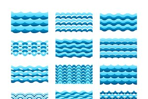 Water wave tiles set flat style
