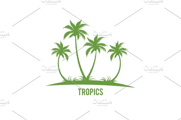 Tropical palm trees island silhouettes.