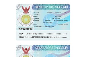 Thailand visa sticker sample