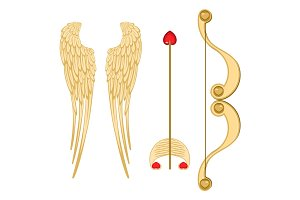 Angel wings, retro cupid bow and arrow with heart vector