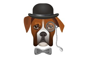 Boxer dog in bowler hat, bow and magnifier glass on eye