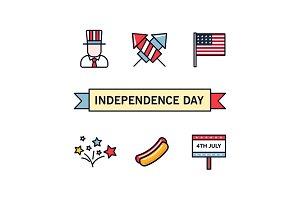4th July. Patriotic icons. Independence Day of America. Vector icons set. Collection of flat design elements isolated on white background. National celebration, BBQ, Uncle Sam, hat, fireworks, flag.