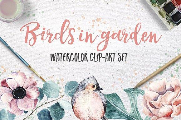 BIRDS IN GARDEN Watercolor clip art in Illustrations