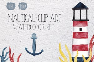 Nautical watercolor clip-art set