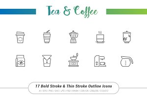 17 Tea&Coffee Outline Stroke Icons