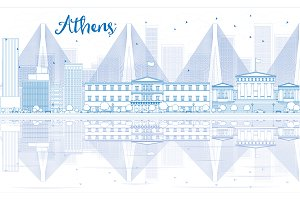Outline Athens skyline