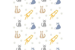 Beautiful seamless pattern with cats.