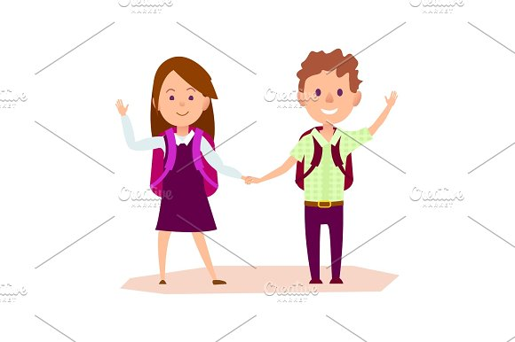 Schoolgirl And Schoolboy Stands And Waves Hand