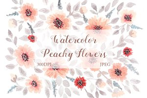 SALE! Watercolor peachy floral art