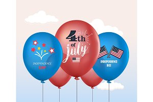 Holiday balloons. 4th of July. National celebration. Independence Day. Vector set of holiday balloons. Realistic mockup.