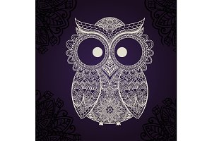 Vector illustration of owl. Bird illustrated in tribal.