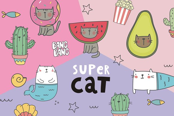 Character Cat Illustration Pattern