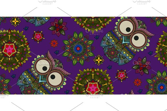 Hand Drawn Mandala And Ornamental Owl Seamless Pattern Floral D