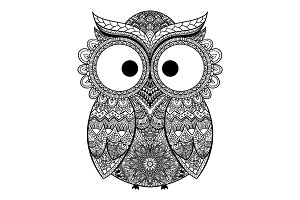 Vector illustration of ornamental owl.