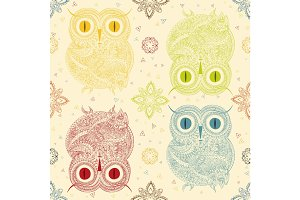 Vector illustration of owl. Bird illustrated in tribal. whith