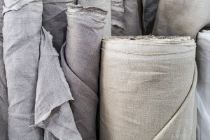 Natural linen fabric in roll