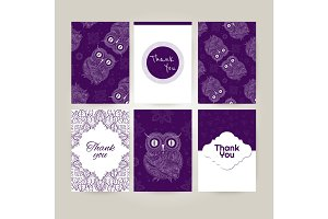 Brochures set in doodle ornamental style. Ornamental owl.
