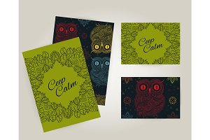 Set of brochures in doodle ornamental style with  owl. Beautiful frames and backgrounds