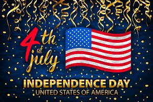 gold 4th of July Independence Day US