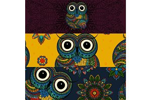 Set illustration ornamental owls. Bird in tribal. social media banners