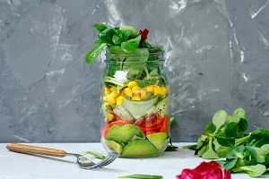 jar with salmon salad