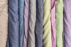 Colorful linen fabric in roll