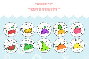 Cute Fruits! Stickers set