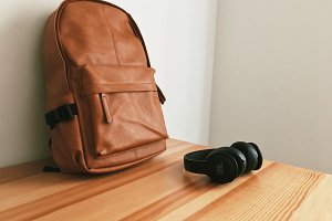 Brown Leather Bag + Headphones