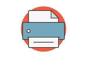 Printer flat line icon