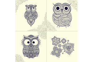 Vector illustration of ornamental owl. Bird illustrated in tribal. Set   owls with flowers and pattern from .