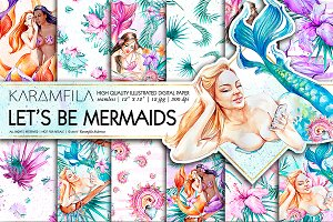 Mermaids Digital Paper