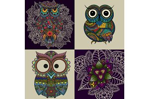 Vector set illustration of ornamental owls. Bird illustrated in tribal.