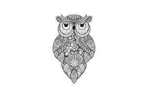 Vector illustration of ornamental owl. Bird illustrated in tribal. Isolated on white