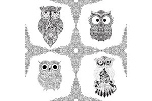 Set from Vector illustration of ornamental owls.   Bird illustrated in tribal. Isolated on white