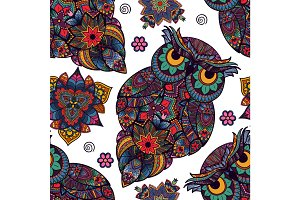 Vector illustration of owl. Bird illustrated in tribal.  with flowers on light background. Shaped and ornamental .
