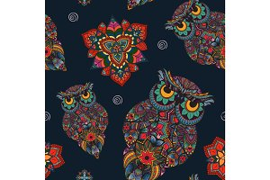 Vector illustration of owl. Bird illustrated in tribal. with flowers on dark background.