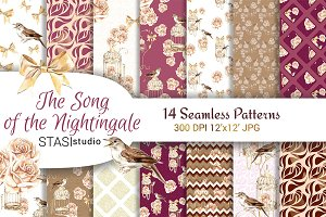 Watercolor Nightingale Patterns