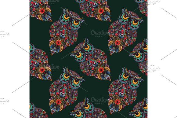 Seamless Pattern Boho Ornamental Owl Illustration Ethnics Abstract Doodle On Floral Background Sketch Of Totem Animal With Feather In Tribal Decor