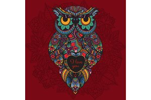 Vector illustration of ornamental owl. Bird illustrated in tribal. Boho  with love. Heart for Valentine day