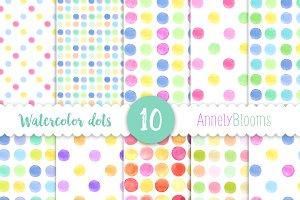 Digital paper watecolour dots