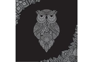 Vector illustration of ornamental owl. Bird illustrated in tribal.