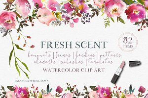 Fresh Scent Pretty Floral Clipart