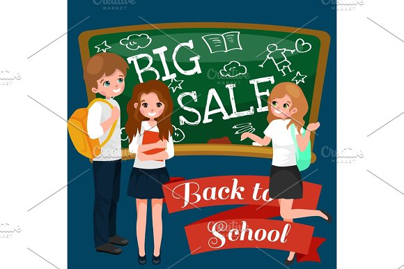 Back To School Summer Sale Background Boy And Girl At The Blackboard Education Concept Banner